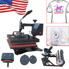 USA 5 in1 Heat Press Machine Digital Transfer Sublimation T-Shirt Mug Hat Cap