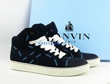 LANVIN NAVY BLUE LEATHER RUBBER SOLE SHOES SNEAKERS ITALY # 16 NEW BOX