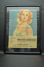 Ann Sheridan Winter Carnival Movie Poster for Radio City Hall New York Framed