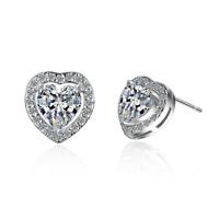Women's Sweet Romantic 925 Sterling Silver AAA Zircon Love Heart Stud Earrings