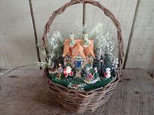 Vintage Christmas Basket W/ Lighted House, Foliage, Santa, Snowman, Family, Etc.