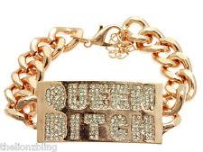 Hip Hop Bling Rose Gold QUEEN BITCH Chain Bracelet