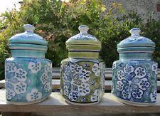 Fair Trade Indian Hand Made Painted Ceramic Spice Storage Holder Jar Set Of 3