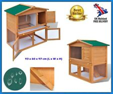 Outdoor Rabbit Hutch Small Animal House Pet Cage Carrier Coop 3 Doors Wood