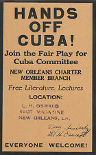 Lee Harvey Oswald Autograph & Cuba Flyer Reprint On Original Period 1963 Paper