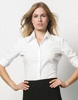 NEW LADIES WOMENS KUSTOM KIT KK715 WHITE OFFICE BUSINESS WORKWEAR SHIRT BLOUSE