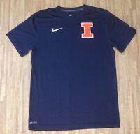Illinois Fighting Illini Nike Dri-Fit Blue Shirt ~ Men's Medium M Slim ~ SS