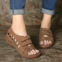Women Summer Hollow Round Toe Slippers Sandals Soft O9B8 Sandal PU Soft X4W4