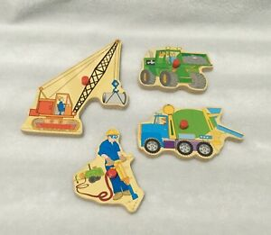 LOT OF 4 REPLACEMENT WOODEN PUZZLE PIECES / CEMENT MIXER / CRANE / LOADER +