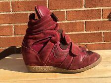 STEVE MADDEN  High Top Wedge Sneakers Burgundy suede Women SZ EUR 36 US 6