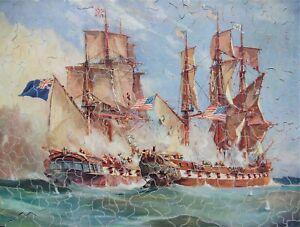 "Vintage hand cut wooden jigsaw puzzle ""HMS Shannon & USS Chesapeake"" 403 pcs"