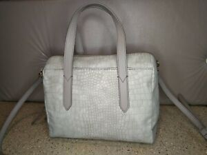 Fossil Sydney Crossbody Satchel Dove Grey Croc Embossed Leather Handbag AUTH