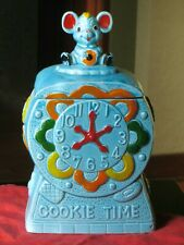 Vintage Blue Cookie Time Cookie Jar with Mouse on Top Made in Japan