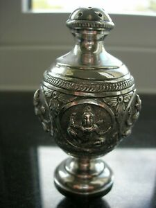 "Antique - Indian Silver -""Swami"" Pepperette/Pounce Pot - With Deities Decoration"