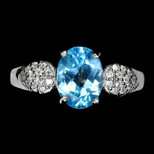 Oval Swiss Blue Topaz 8x6mm Cz 14K White Gold Plate 925 Sterling Silver Ring 8