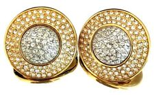 Authentic Signed SWAROVSKI Earrings Gold & Silver Pave Crystal $135 Couture 4Y