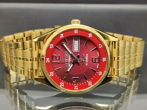 citizen automatic men's gold plated Red dial day date vintage japan watch run