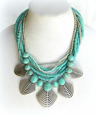 $85 NWT LUCKY BRAND TURQUOISE BIB OPENWORK TRIBAL BOHO STATEMENT CHUNKY NECKLACE