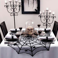 Round Black Spider Web Table Topper Halloween Lace Tablecloth Tablescape Decor