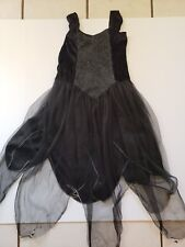 Black Spider Web Veil Dress Costume With Unattached Skirt Girl Size 12/14 *Flaws