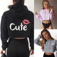 Women Hoodie Hooded Sweatshirt Jumper Sweater Crop Top Sports Pullover Tops Coat