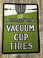 VINTAGE PENNSYLVANIA VACUUM TIRES DOUBLE- SIDED PORCELAIN METAL GAS & OIL SIGN!