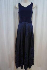Patra Ltd. Dress Sz 10 Sapphire Blue Taffeta Jersey Soutache Formal Evening Gown