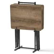 5 Piece Folding TV Dinner Tray Stand Set Laptop End Table Foldable Rustic Brown
