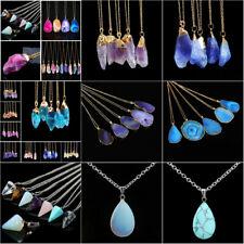 Natural Gemstone Crystal Quartz Healing Point Stone Pendant Necklace Jewelry Hot