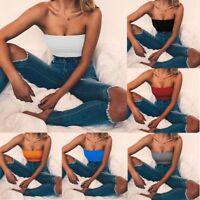 Bandeau Solid Color Women Strapless Bra Tube Crop Top Off Shoulder Yoga Vest