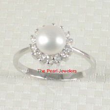 925 Sterling Silver White Cultured Pearl Ring w/ Cubic Zirconia Accent - TPJ