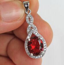 18K White Gold Filled - Oval Ruby Topaz Swirl Cocktail Women Jewelry Pendant