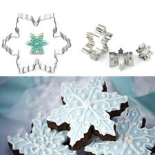 3Pcs Snowflake Biscuit Cookies Cutter Mould Cake Fondant Decorating Mold Tools