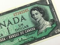 1954 Canada One 1 Dollar HM Beattie Rasminsky Uncirculated Banknote BABN Q971