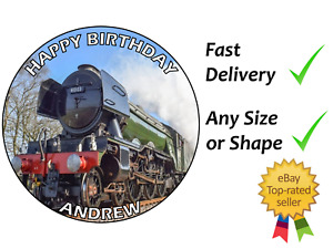 Flying Scotsman Train Personalised cake topper edible icing or Wafer