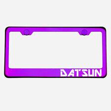 Purple Chrome License Plate Frame DATSUN Laser Etched Metal Screw Cap