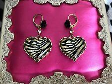 Betsey Johnson Vintage NYC Taxi Girl Lucite Zebra Heart Black Rose Earrings RARE