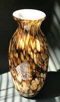 Art Glass Tortoise Shell Hand Blown Murano Style Vase, Tall 11.0""