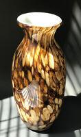 "Art Glass Tortoise Shell Hand Blown Murano Style Vase, Tall 11.0"""
