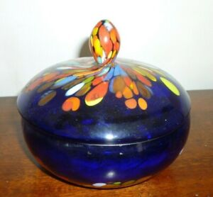 Very Unusual Murano Millefiori Type Glass Pot And Lid