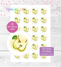 Pear Fruit Stickers, 48 Round Labels For Envelope Seals/Labelling Products/Gifts