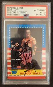 BRET HITMAN HART Signed 1987 Topps WWF ROOKIE CARD w/PSA COA DNA ENCAPSULATION