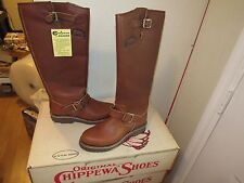 "NIB VINTAGE CHIPPEWA 17"" SNAKER SNAKE BOOTS SZ 5 ALL LEATHER BRAND NEW OLD STOCK"