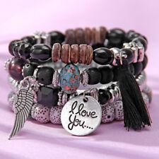 Women Vintage Style Crystal Bead Bracelets Jewelry Tassel Charms Wristband ONE