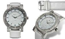 NEW Geneva Platinum 3249 Men's High Roller Large Face White/Silver Bling Watch