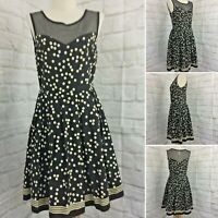 Esley Size S Black & White Fit N Flare Dress Tencel & Cotton Polka Dot & Stripes