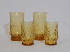 Vintage Anchor Hocking GOLD RAIN FLOWER 2 Ea. 12 Oz Tumblers & 6 Oz Juice Glass
