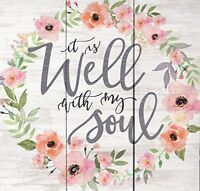 Well With My Soul Floral Wreath Whitewash 10.5 x 10 Wood Pallet Wall Plaque Sign