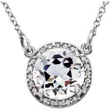 """NWT 14K White Gold Round White Topaz & .05 CTW Diamond 16"""" inch Halo Necklace"""