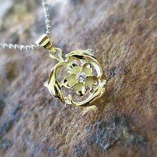 Yellow Gold 3 Dolphins Plumeria Hawaiian Genuine Silver Pendant Necklace SP93905